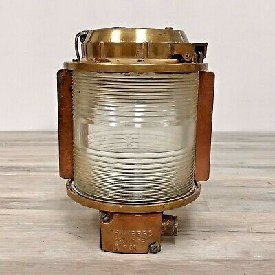 Authentic Salvaged Clear Lens Brass Wall Mounted Navigation Mast Head Light