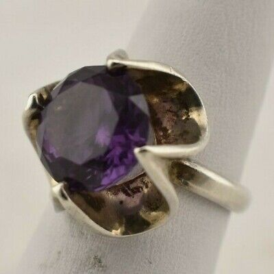 Mexico Signed Sterling Silver Purple Topaz Gem Stone Fashion Ring - Size 7.25