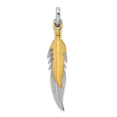 Sterling Silver Rhodium-plated Polished Gold Tone Double Feather Pendant