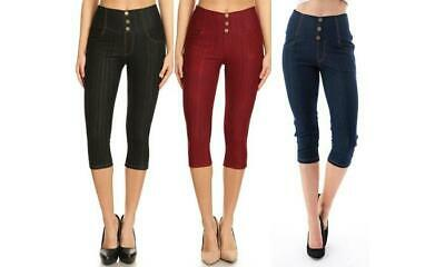 Women's High-Waist Stretchy Capri Jeggings With Pockets (3-Pack) Large(10-12) Bl
