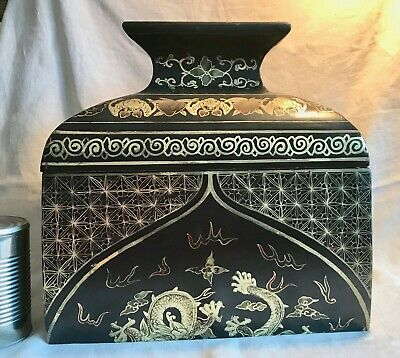 "CHINESE Lacquer Box BATS & FRUIT VTG Hand-Painted Wood DRAGON 12.25"" Retail $380"