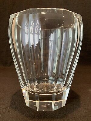 """Moser Large Clear 7 5/8"""" H  Heavy Faceted Vase Czech Crystal Signed"""