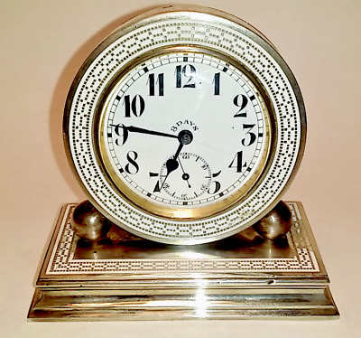 Antique Art Deco Sterling Silver & Enamel Champleve Clock 8 day Stamped