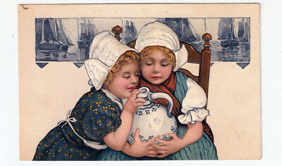 TWO GIRLS with DELFT POTTERY Heavily Embossed PFB Antique Postcard # 173