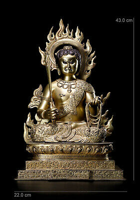 "17"" China Ming Dynasty antique Tang mi Tibet bronze gilt gold Acalanatha statue"