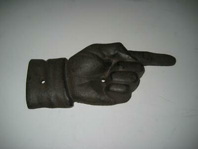 """8"""" Cast Iron Hand With Pointing Finger Plaque  / Wall Art / Directional Sign"""