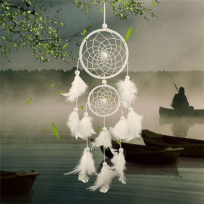 White Dream Catcher Circular With Feathers Wall Hanging Decoration Decor Cra VQP
