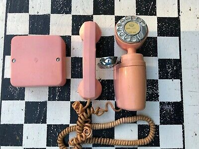 Old Antique Pink Telephone Unique Wall Hung Dial Type Cord Corded