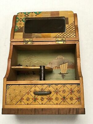 Vintage Marquetry Inlay Wood Jewelry Box Mirror Sailboat Dock Quilt Pattern