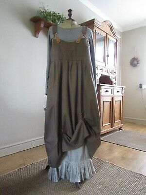 Lagenlook balloon shaped wool pinafore,hitches,real leather braces.Sz 12/14