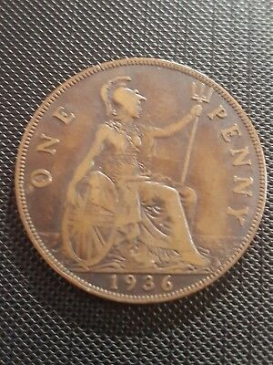 1936 KING GEORGE V ONE PENNY 1d ONE PENCE COIN -FREEPOST 180429B