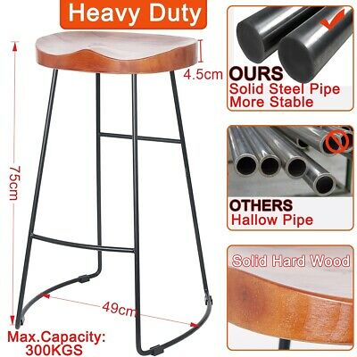 Vintage Metal Wooden Bar Stool Industrial Retro Seat Kitchen Pub Counter Chairs