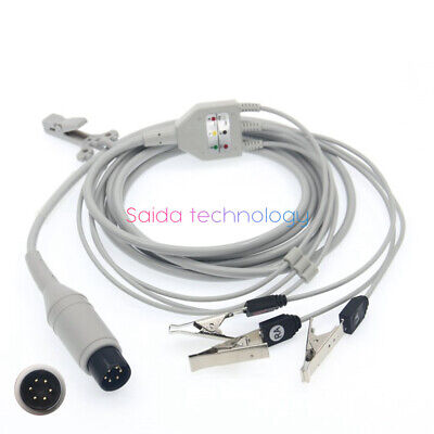 universal 6pin one piece 3leads ecg cable adapter to animal metals clip 6pin