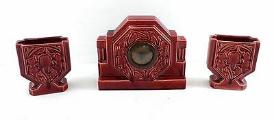 Art Deco French set clock and two Vases made by Clement, ceramic