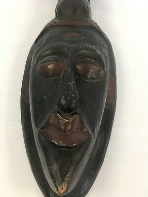 Large African Wooden Tribal Mask Wall Hanging Decor Statement Ornamental
