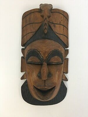 Large African Wooden Tribal Mask Wall Hanging Decor Statement Ornamental Art