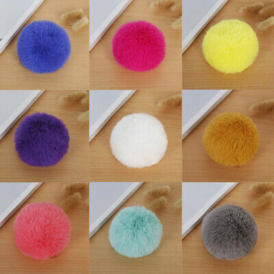 Faux Fur Pompom Furry Hairball Key Chain Keyring Bag Pendant Craft Accessories