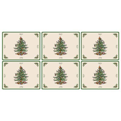 NEW Pimpernel Christmas Tree Regular Placemat Set 6pce