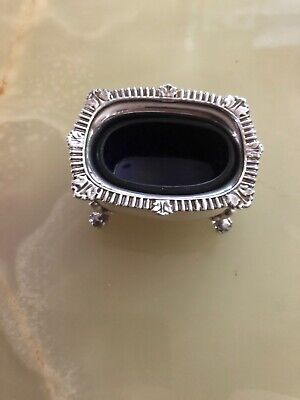 Beaitiful Epns Salt Dish With Blue Glass Liner