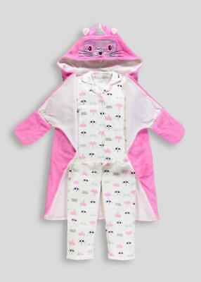BNWT Matalan Kids 3 Piece Pink Cat Unicorn Pyjamas Dressing Gown Christmas (EH)