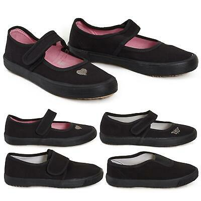 Girls Boys School PE Pumps Gym Black Trainers Touch Fastening Dance Plimsolls