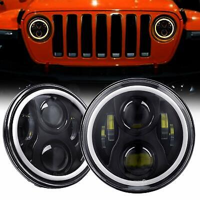 Pair 7 inch LED Headlights 100W CREE For Jeep Wrangler TJ JK 97-17 Angel Eyes