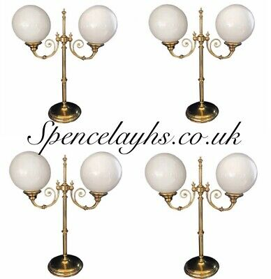 Four Large Vintage Brass Regency Style Opaque Glass Globe Gallery Lights Lamps