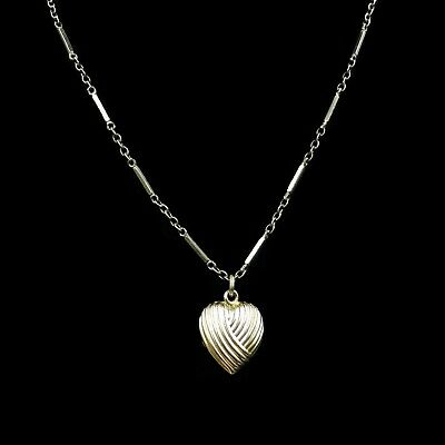 """Antique Puffy Heart Rolled Gold Pendant and Fancy Chain Necklace 15"""" c.1890"""