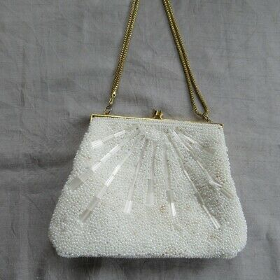 Vintage 1976 hand made beaded purse clutch white pearls