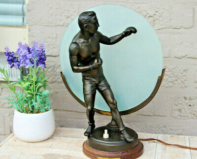 Art deco 1930 French antique table lamp spelter bronze Boxing sport n1