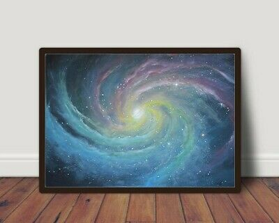 Hand Made Original Acrylic Space Painting on canvas 70x100 cm With Free Frame.