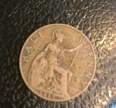 1919 - Half Penny - 1/2d - Coin - King George V - Great Britain