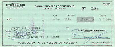 Danny Thomas Signed Check To Editing Film Center