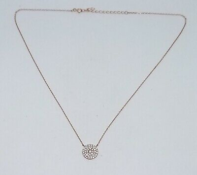 Vintage Estate Sterling Silver Rose Gold Vermeil Pave CZ Pendant Necklace 17.5""