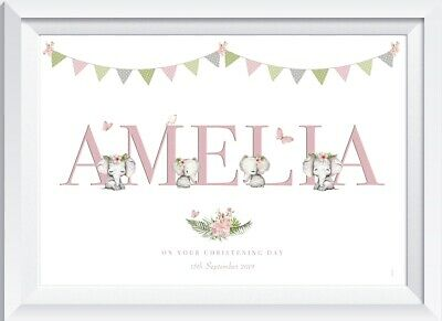 Personalised baby girl print picture nursery walldecor christening elephant pink