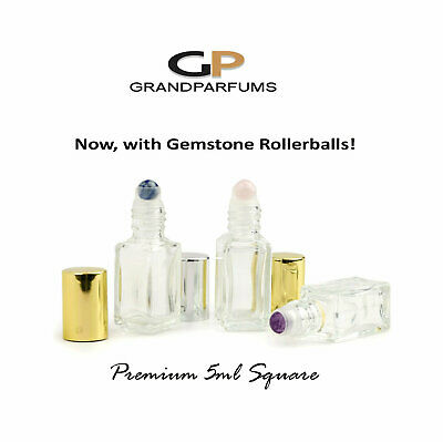 3 PREMIUM GEMSTONE RoLLERBALLS SQUARE Shape  Clear Glass Roll-on, Gold or Silve