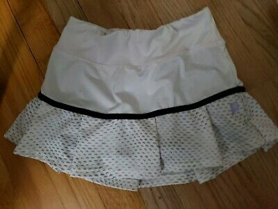 Prince Girls Black and White Striped Tennis Skirt Skort Small 7-8