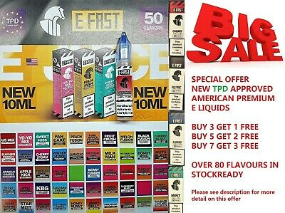 10ml E-Fast Vape. E Liquid Juice Eliquid Vape - 0/6/12/18mg nicotine - TPD
