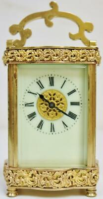 Antique French 8 Day Pierced Fretwork Carriage Clock Porcelain Dial Timepiece