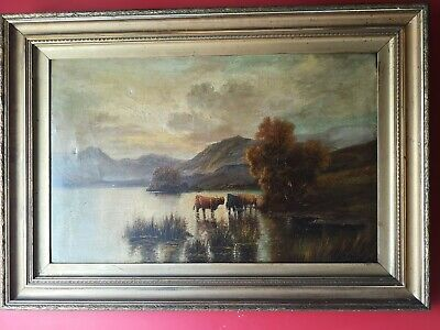 Antique 19th Century Oil Painting Highland Cattle Landscape ,by G Clements