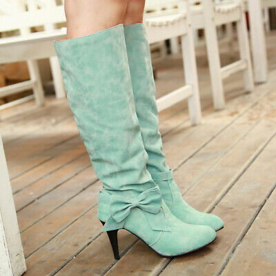 Girls Cosplay Bowknot Knee High Boots Ladies High Heel Stiletto Casual Shoes New