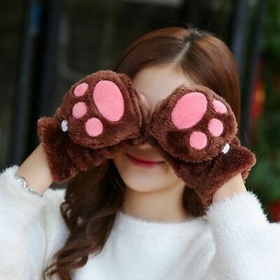 Cute Pink Warm Gloves Winter Plus Velvet Faux Flip Cover Mittens Women Cat Claw