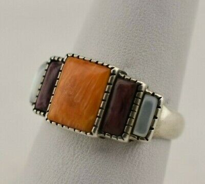 Waldeck Johnson WJ Signed Sterling Silver Colorful Multi-stone Ring - Size 7