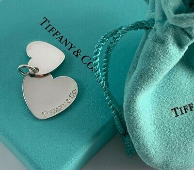 Tiffany & Co. Double Heart Pendant .925 Sterling Silver Beautiful