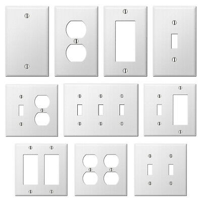 Smooth White Steel Wall Plate Toggle Switch Outlet Duplex GFCI Rocker Cover