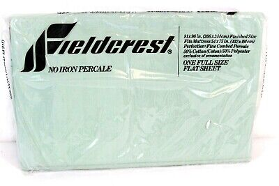 Fieldcrest No-Iron Percale 81 x 96 in Full Size Flat Sheet Fabric NEW