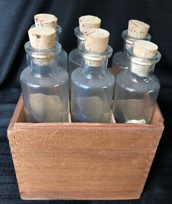 Boxed Set of 6 Vintage Apothecary Jars in Wood Box Cork Top Bottles