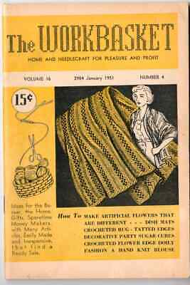 The Workbasket January 1951 Magazine - Needlecraft Knitting Crochet Pattern Book
