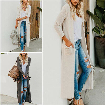 Womens Casual Long Open Front Drape Lightweight Duster Maxi Long Sleeve Cardigan