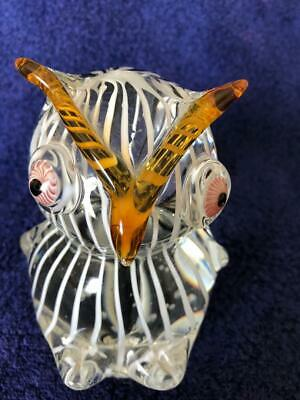 """Vintage MURANO Italy Art Glass 5 1/4"""" Tall OWL FIGURINE SCULPTURE PAPERWEIGHT"""